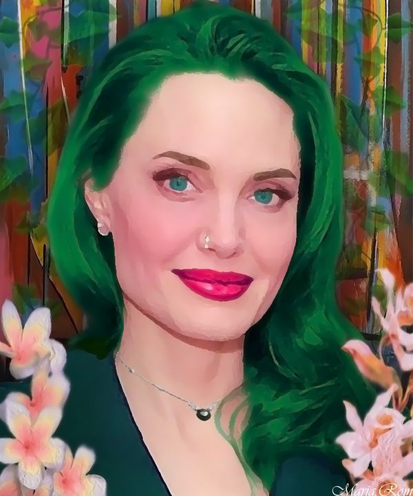 Angelina Jolie green hair - MARIA MAGIC ART