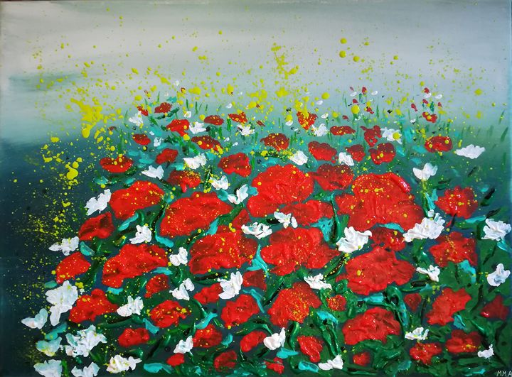 Anemone red flowers - MARIA MAGIC ART