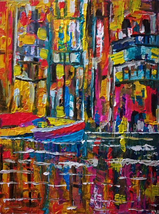 Boat under the town reflection - MARIA MAGIC ART