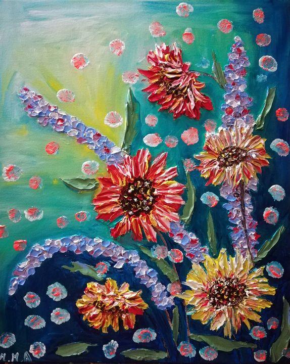 Rainbow Flowers - MARIA MAGIC ART