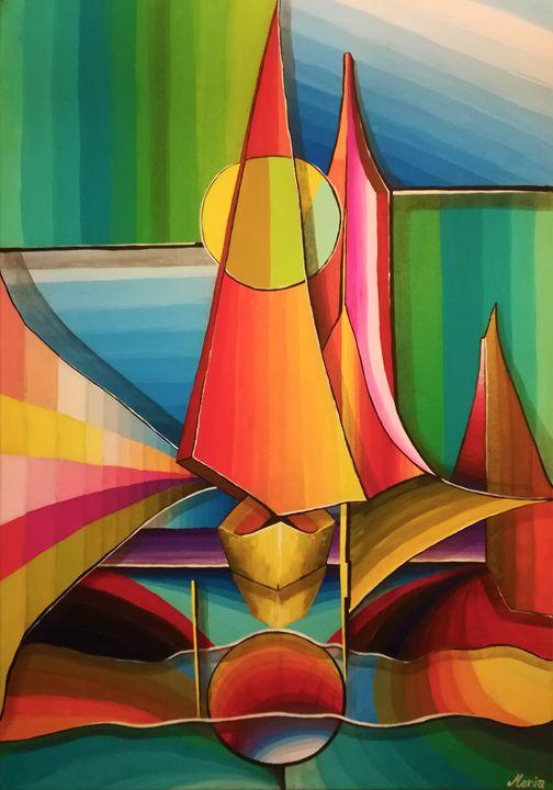 Sunset boat in the sea - MARIA MAGIC ART
