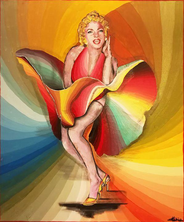 Marilyn Monroe rainbow dance - MARIA MAGIC ART