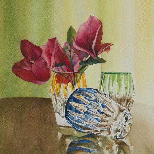 Glasses with flowers - Claudia Montero