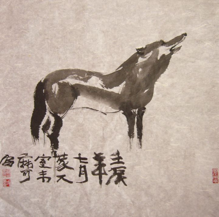 Wolf Chinese ink painting freehand - Rui Baoxuan gallery