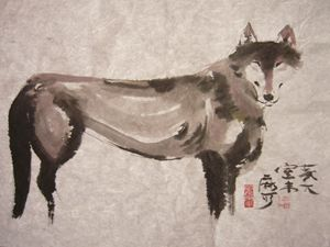 Wolf Chinese ink painting freehand