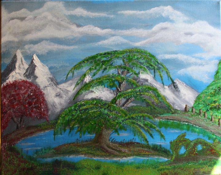tree on a lake. - billys art...