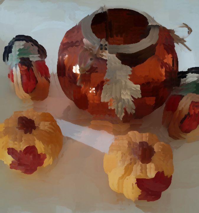 Turkeys And Pumpkins - Michael A. Galianos