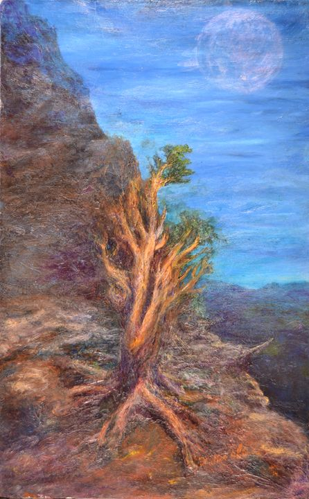 Mountain Tree with Moon - Art of Walter James Idema