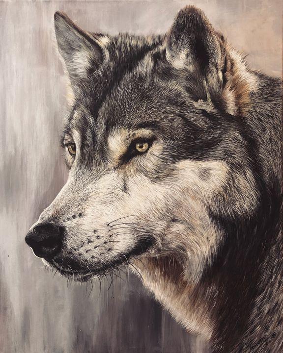 "Original wolf painting 24""x30"" - Sarvashri Shiralkar"