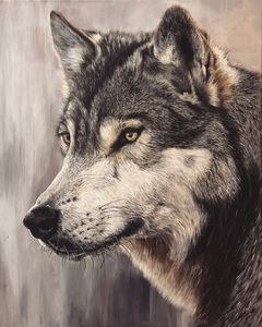 "Original wolf painting 24""x30"""