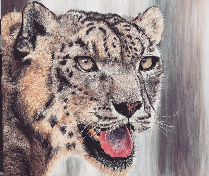 Original snow leopard painting - Sarvashri Shiralkar