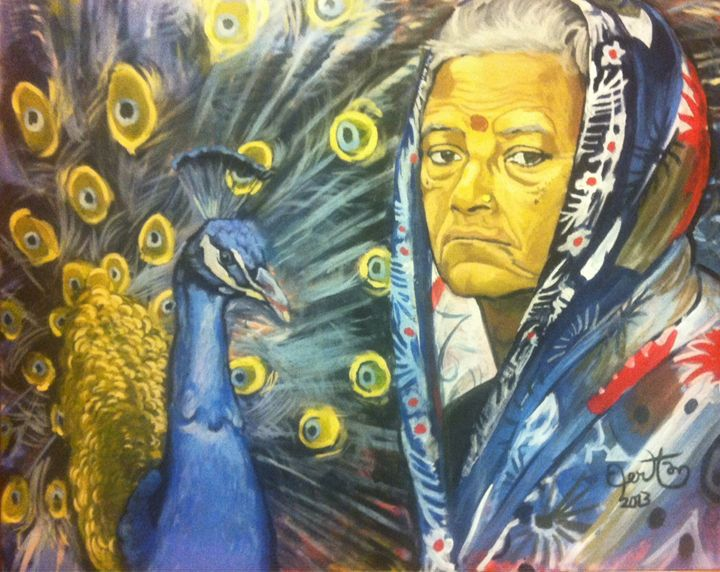 Old Sri Lankan woman with peacock - PaplepelPaintings