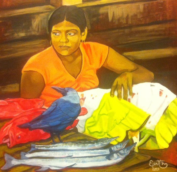 Female fishseller - PaplepelPaintings