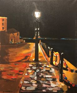 """Liverpool dock at night"""