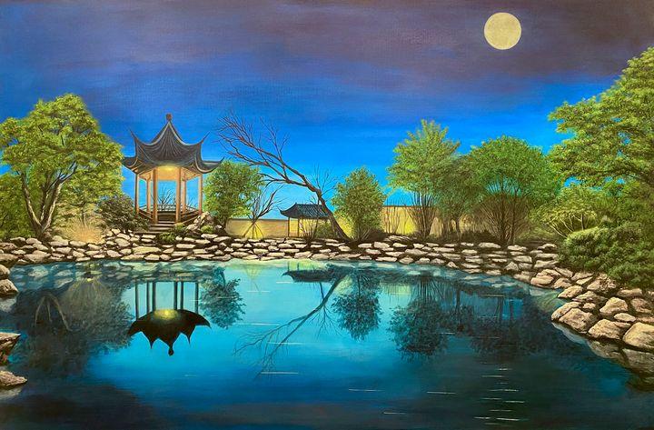 A Chinese garden under moon - Helen's Art Studio