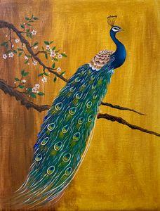 Golden background Peacock