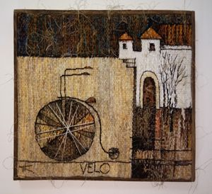 "Tapestry ""a bike'' 44x42cm - Modern tapestry"