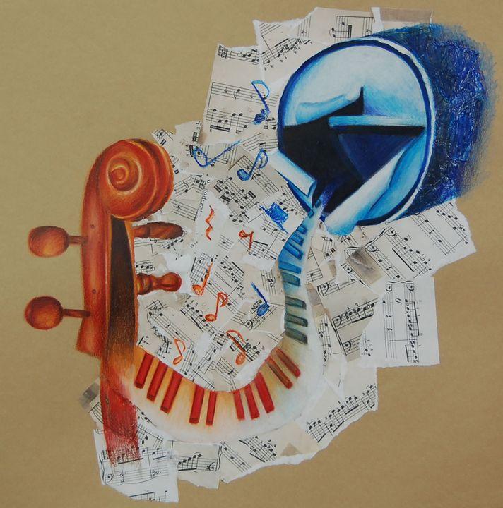 Cello, piano, and broken drum - Bednarek Art