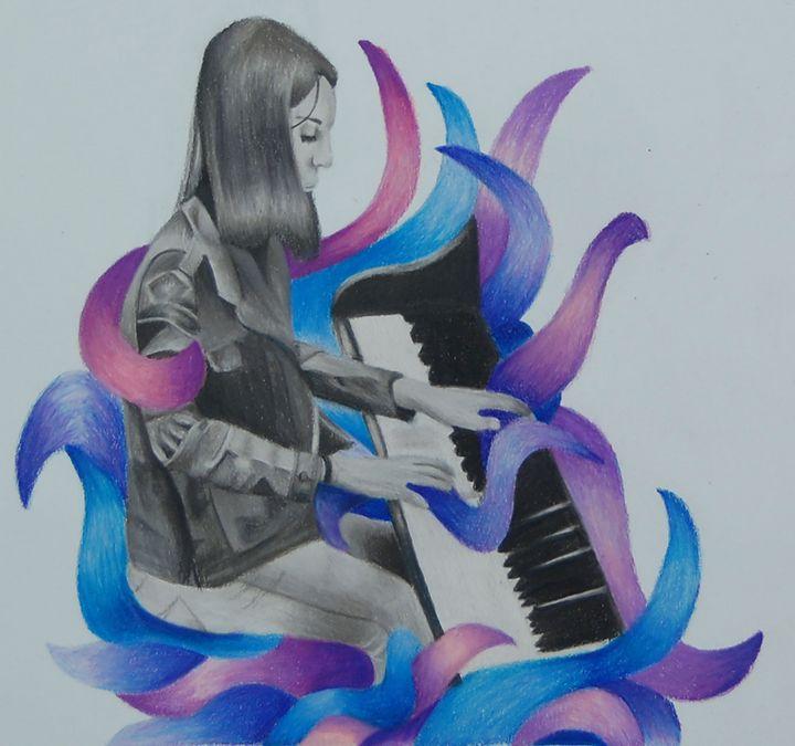 Girl playing piano - Bednarek Art