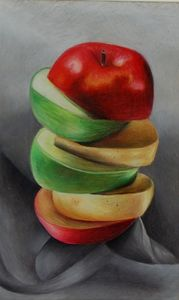 Stacked apples