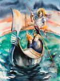 Original watercolor painting 34 x 4