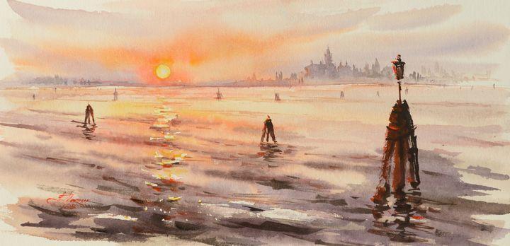 Venice lagoon at sunset - Eve Mazur