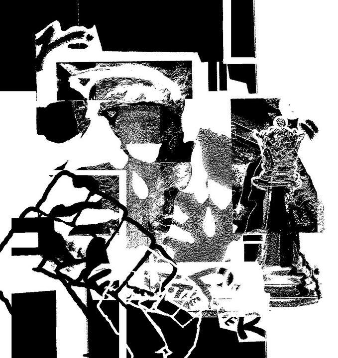 """X"" Black and White version - Ninja Picasso"