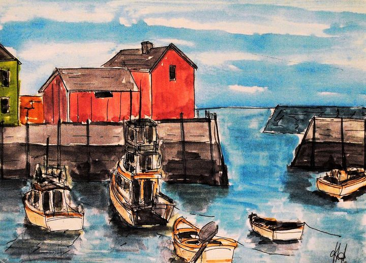 The Harbor - Greg's Watercolor Paintings