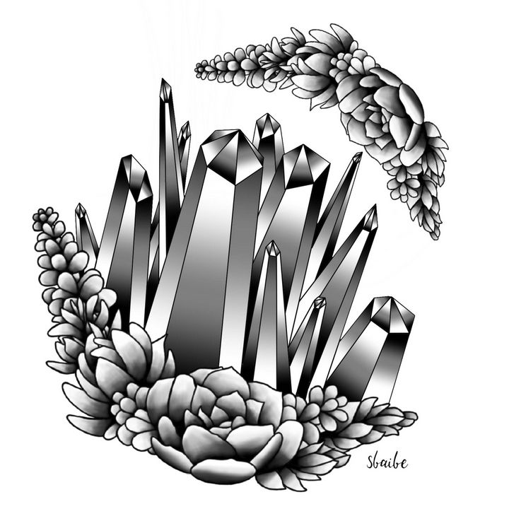 Succulent Crystal (Black and White) - sbaibe