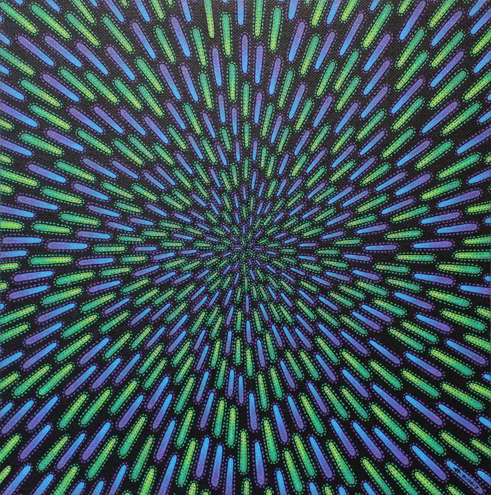Green and violet particle - Jonathan Pradillon