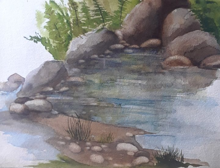 Rocks on a Riverbank Scene - A Hart of Art