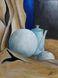 Still life painting of ceramics