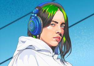 Billie Eilish and Her headphone
