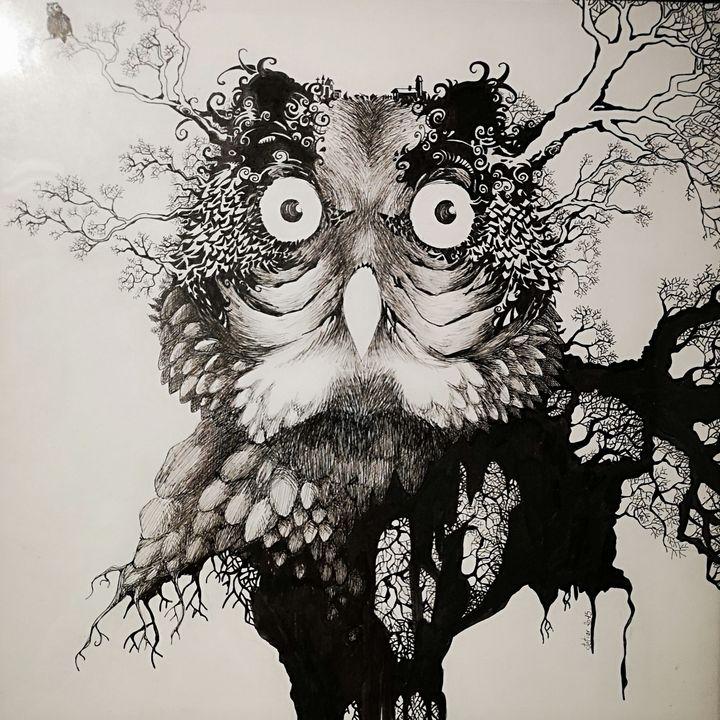 LE HIBOU Illustration sur papier - Stetiar Illustrations