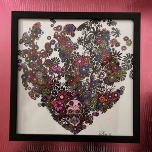 Illustration coeur tête de mort