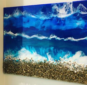 "16x20"" resin beach art"