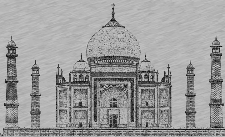 Taj Mahal Digital Pencil Sketch - Digital Sketches