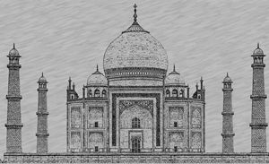 Taj Mahal Digital Pencil Sketch