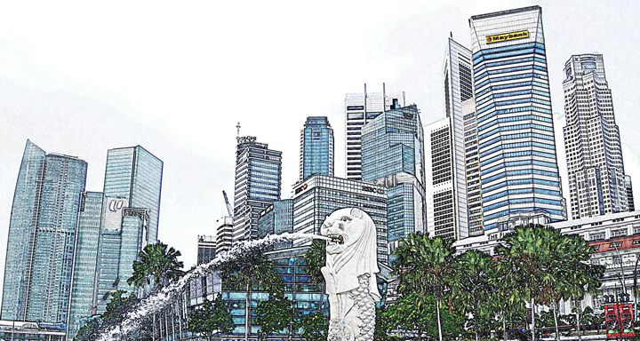 Singapore Skyline Digital Image - Digital Sketches