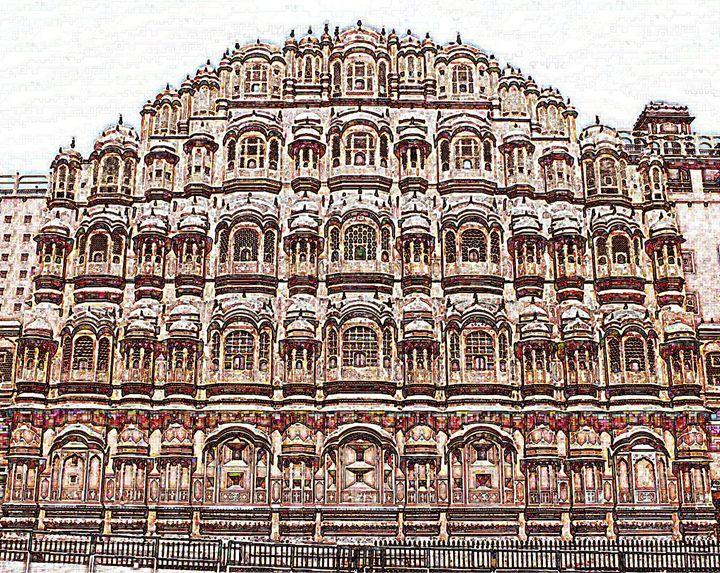 Jaipur Pink City Digital Color Image - Digital Sketches