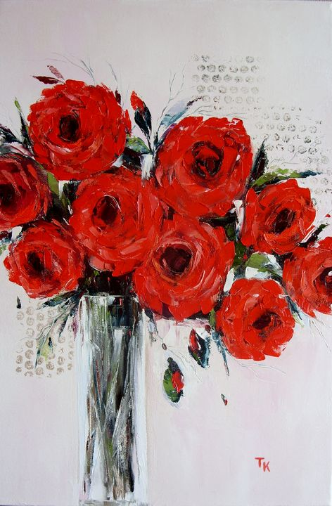 Bouquet of red roses - TK art style