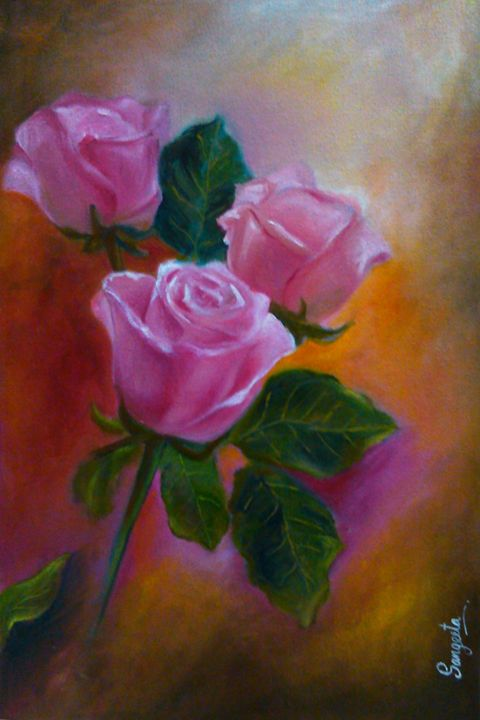 Roses in Oil Color - Sangeeta Arts