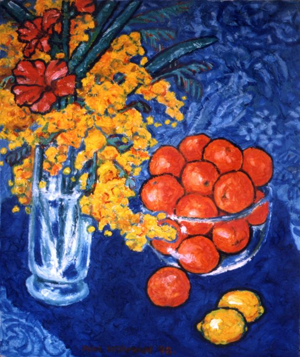 Mimosa & tangerines - Paintings & murals by Paul Herman