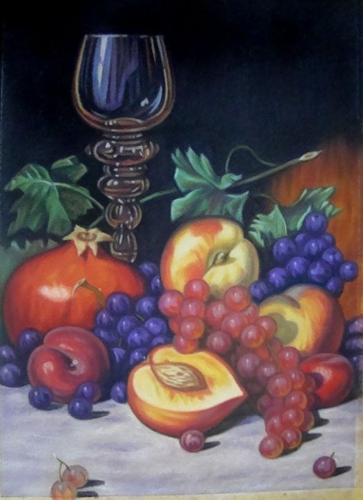 Empty glass, grapes and peaches - Volkov Art