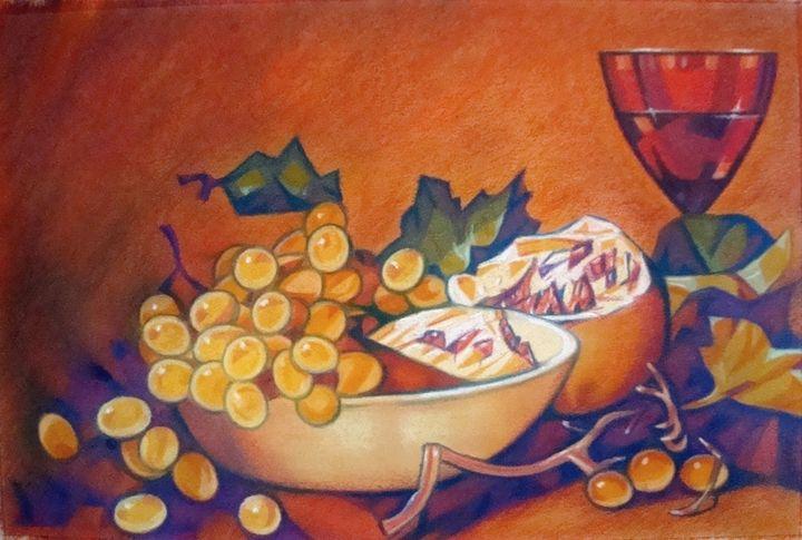 Glass, grapes and pomegranate - Volkov Art