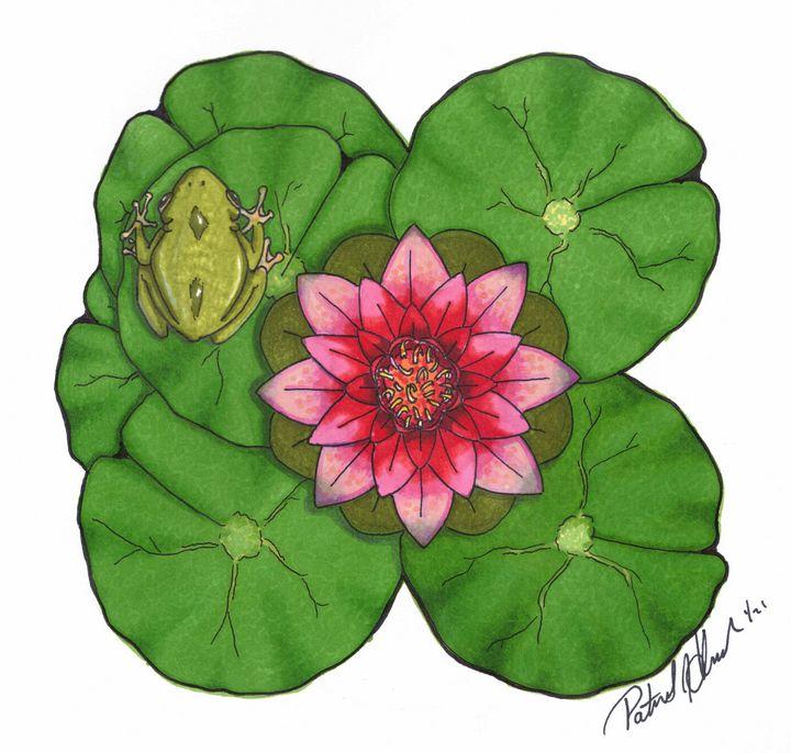 Frog on lily pad - PatHawkins_art