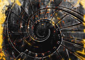 Staircase spiral fire tornado
