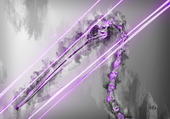 Purple Pelican animal skeleton art - Aota