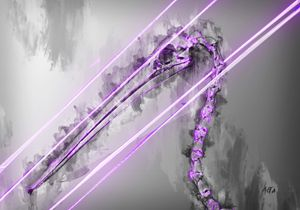 Purple Pelican animal skeleton art