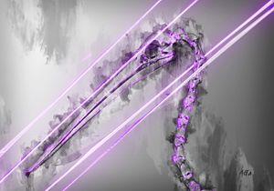 Purple Pelican animal skeleton art - Aota